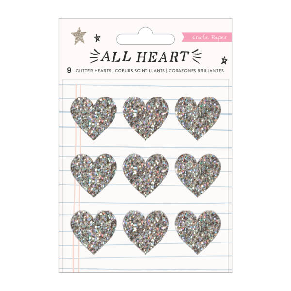 Crate Paper - All Heart Glitter Hearts (9 Piece)
