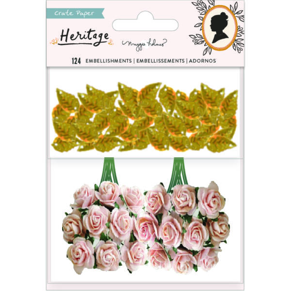 Crate Paper - Maggie Holmes - Heritage Paper Flowers and Gold Leaf Sequins (30 Piece)