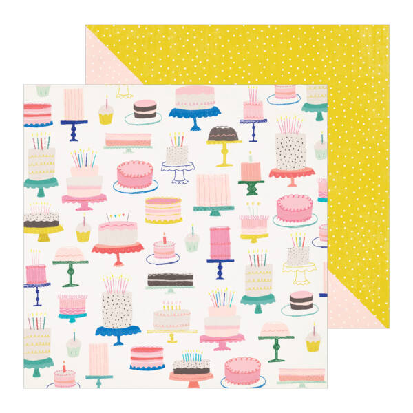 Crate Paper - Hooray 12x12 Patterned Paper -  Cake