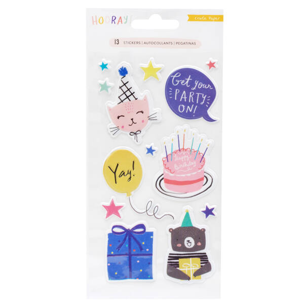 Crate Paper - Hooray Embossed Puffy Stickers (13 Piece)