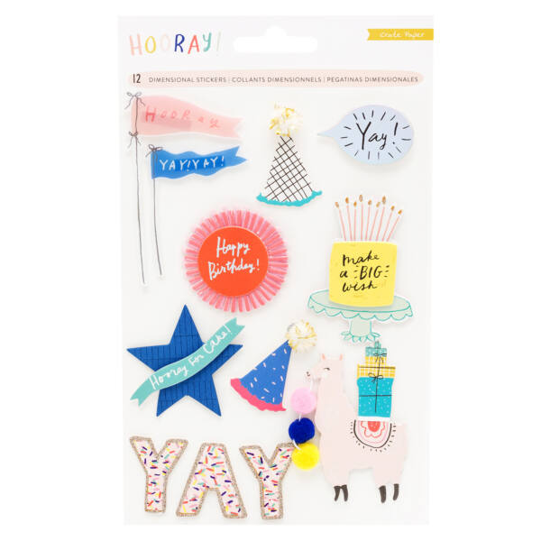 Crate Paper - Hooray Dimensional Stickers (12 Piece)