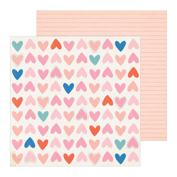 Crate Paper - La La Love 12x12 Patterned Paper - Be Mine