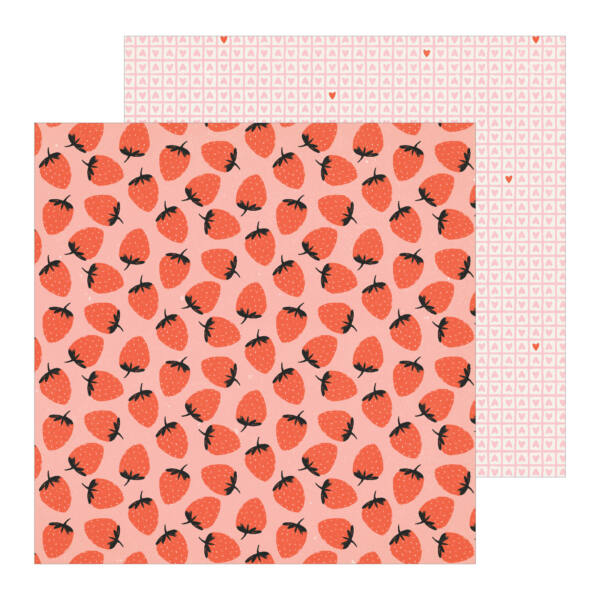 Crate Paper - La La Love 12x12 Patterned Paper - Berry Sweet