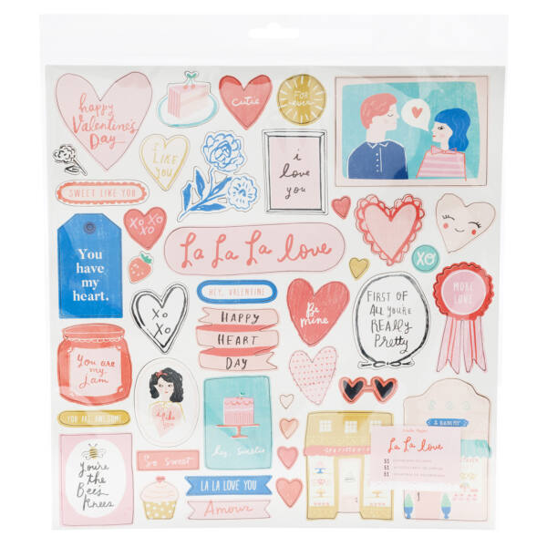 Crate Paper - La La Love 12x12 chipboard matrica (51 db)