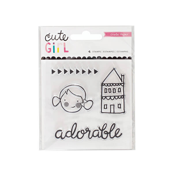 Crate Paper - Cute Girl Clear Acrylic Stamp Set