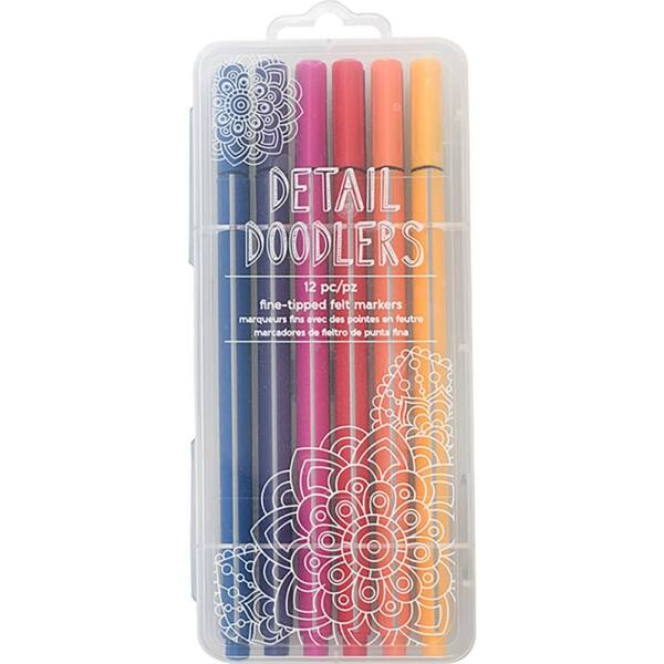 Crate Paper Here & There Detail Doodlers Felt Tip Markers 12/Pkg