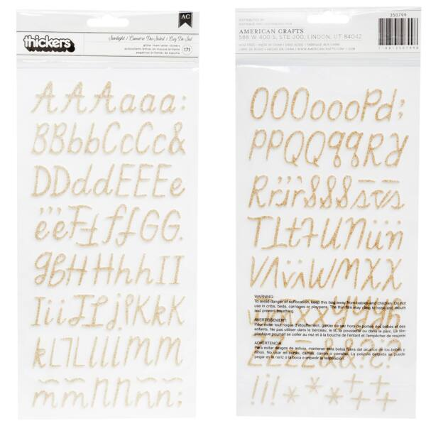 Crate Paper - Maggie Holmes - Sunny Days Glitter Foam Alpha Thickers - Sunlight (171 Piece)