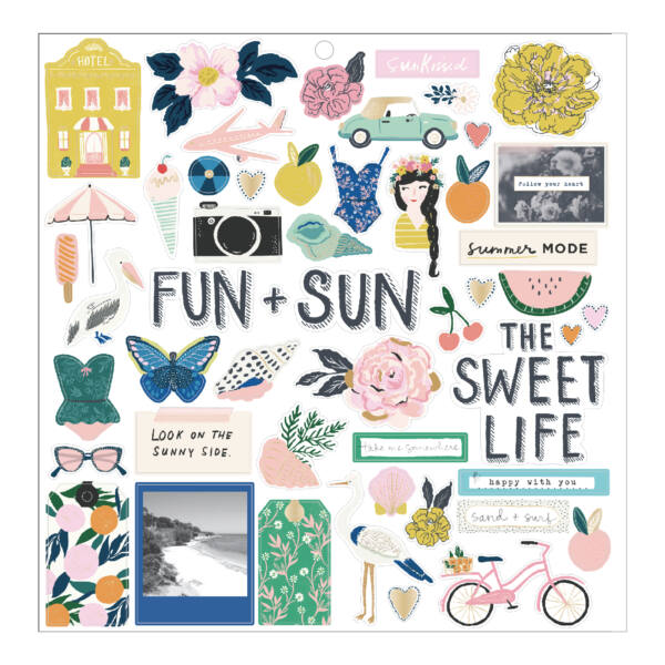 Crate Paper - Maggie Holmes - Sunny Days 12x12 Chipboard Stickers (51 Piece)