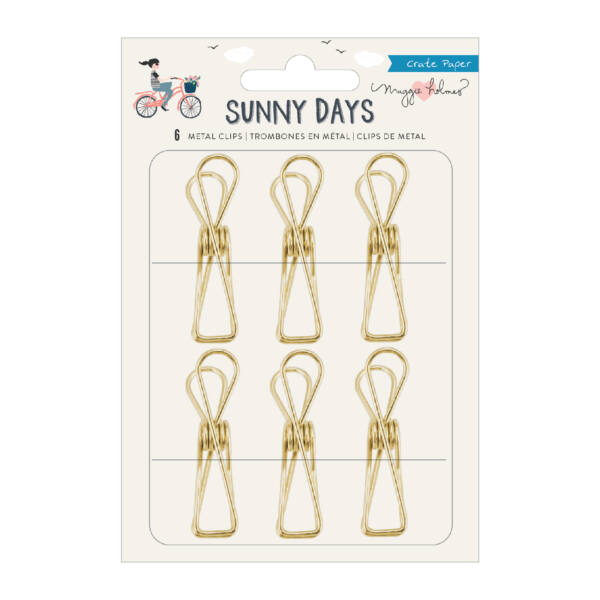 Crate Paper - Maggie Holmes - Sunny Days Gold Metal Clips (6 Piece)