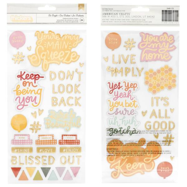Dear Lizzy - It's All Good Chipboard betűmatrica - Be Bright (84 db)