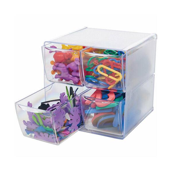 Deflecto Cube Storage Organizer - 4 Drawer