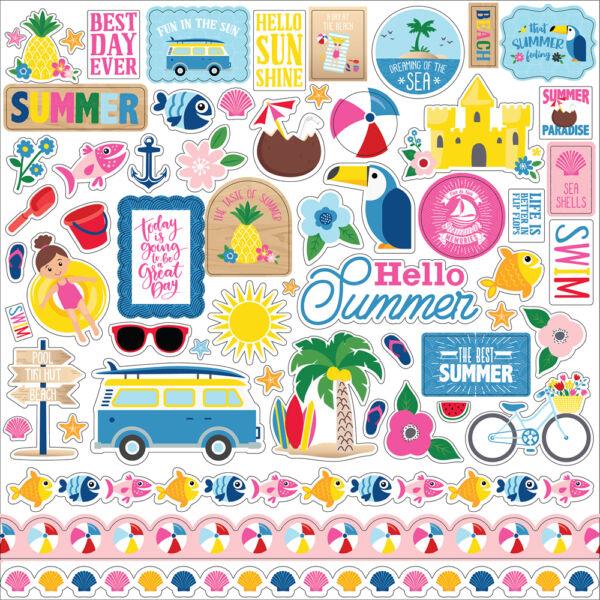 Echo Park - I Love Summer 12x12 Stickers