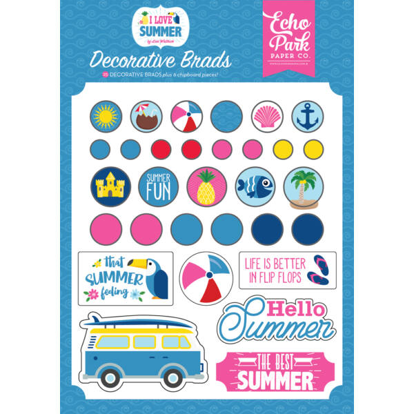 Echo Park - I Love Summer Decorative Brads (25 Pieces)