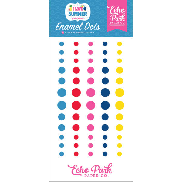 Echo Park - I Love Summer Enamel Dots (60 Pieces)