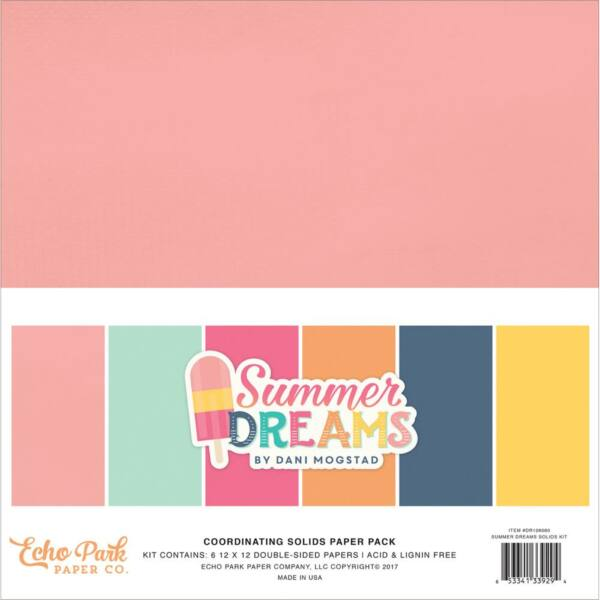Echo Park - Summer Dreams 12x12 Double-Sided Solid Cardstock