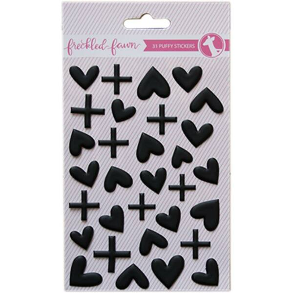 Freckled Fawn Puffy Matte Black Hearts