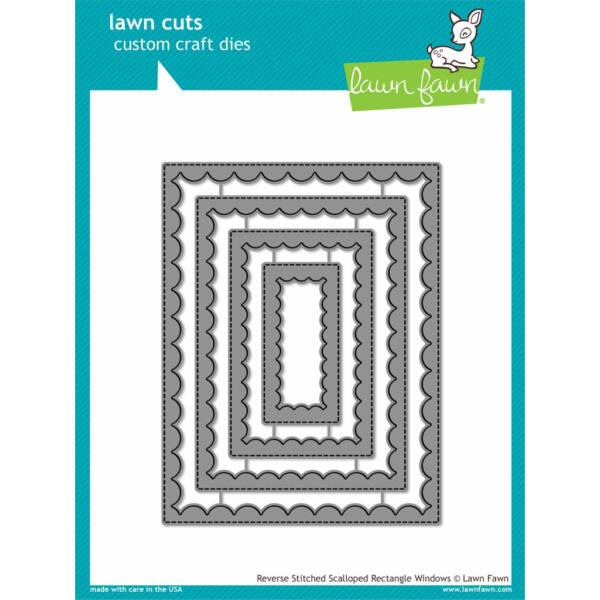 Lawn Fawn Die Set - Reverse Stitched Scalloped Rectangle Windows