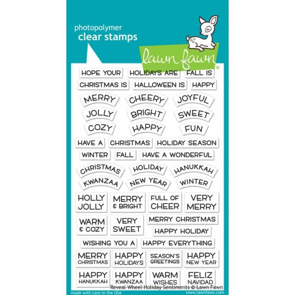 Lawn Fawn 4x6 Clear Stamp - Reveal Wheel Holiday Sentiments