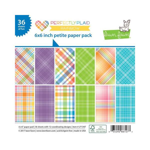 Lawn Fawn 6 x 6 Perfectly Plaid Rainbow Petite Paper Pack