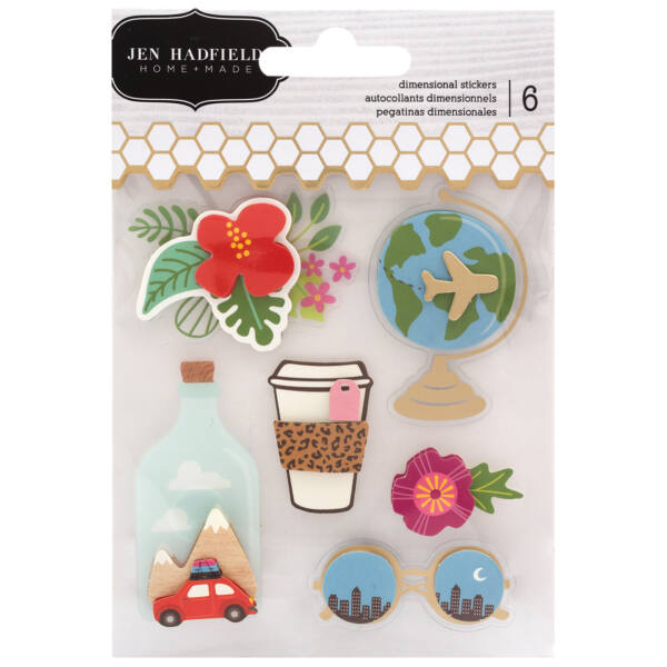 Pebbles - Chasing Adventures Dimensional Stickers (6 Piece)