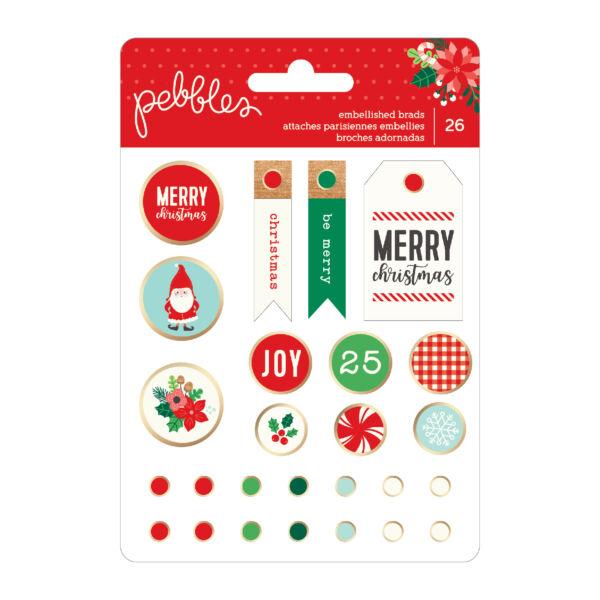 Pebbles - Cozy & Bright Decorative Brads 26/Pkg