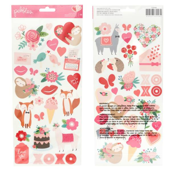 Pebbles - Loves Me 6x12 Stickers (56 Piece)