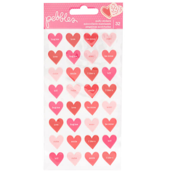 Pebbles - Loves Me Puffy Heart Stickers (32 Piece)