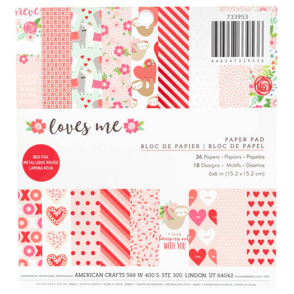 Pebbles - Loves Me 6x6 Paper Pad 36 Sheets