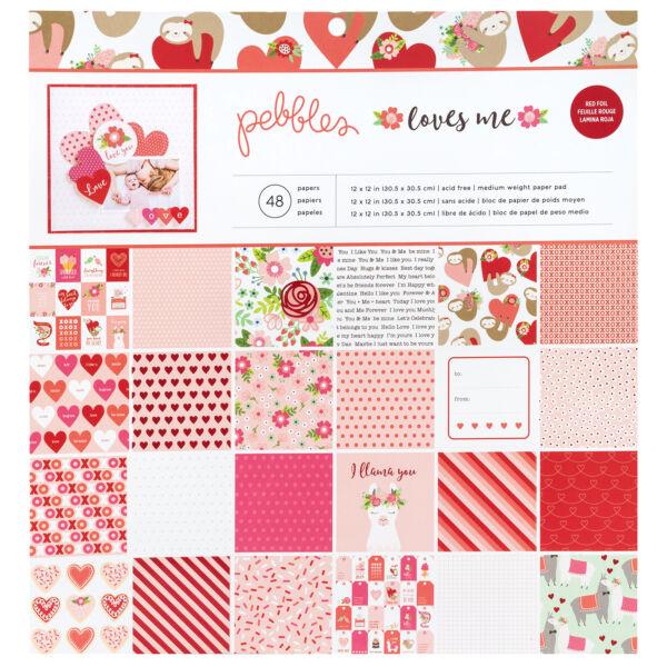 Pebbles - Loves Me 12x12 Paper Pad 48 Sheets