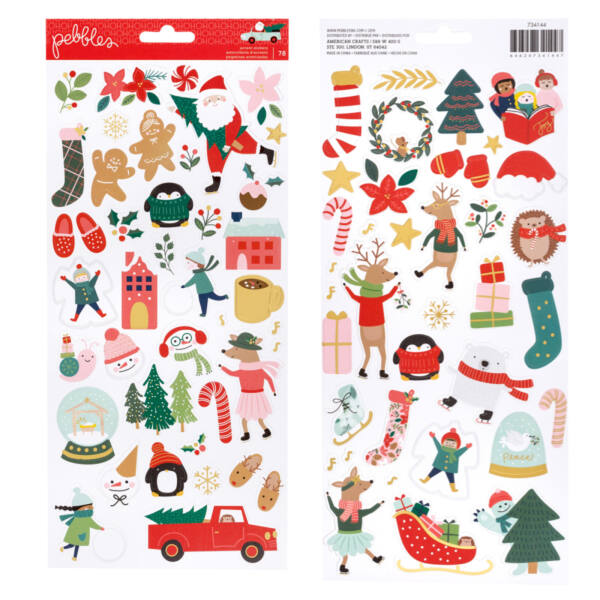Pebbles - Merry Little Christmas 6x12 Stickers (78 Piece)