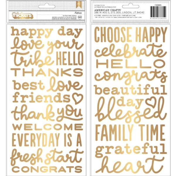 Pebbles - My Bright Life Gold Phrases Stickers