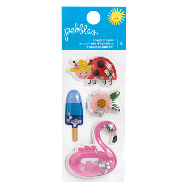 Pebbles - Oh Summertime Inflated Shaker Stickers (4 Piece)