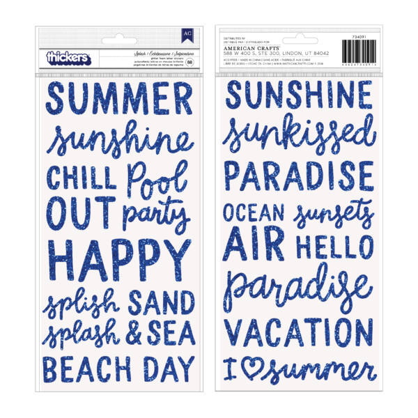 Pebbles - Oh Summertime Phrase and Icons Foam Thickers (88 Piece)