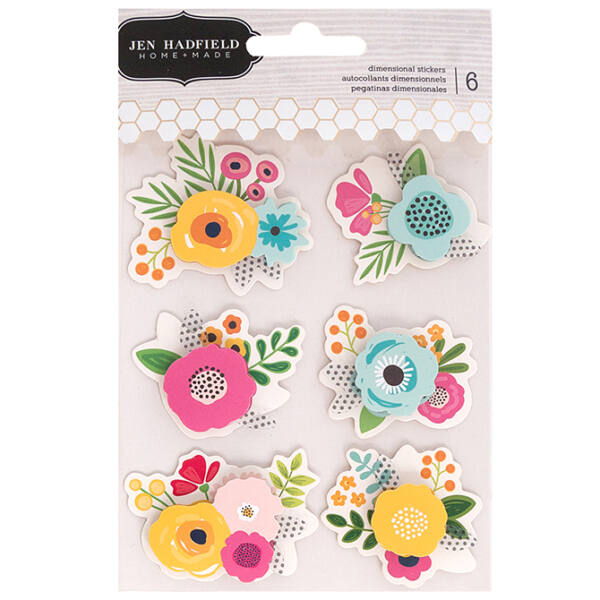 Pebbles - Patio Party Dimensional Flower Stickers