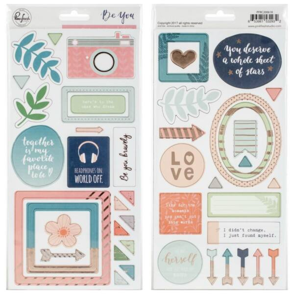 Pinkfresh Studio - Be You Chipboard Stickers