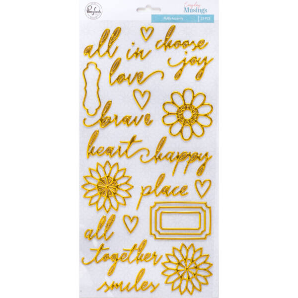 Pinkfresh Studio - Everyday Musings Gold Puffy Stickers