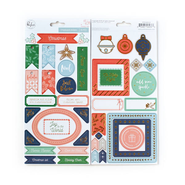 Pinkfresh Studio - Holiday Vibes Chipboard Stickers