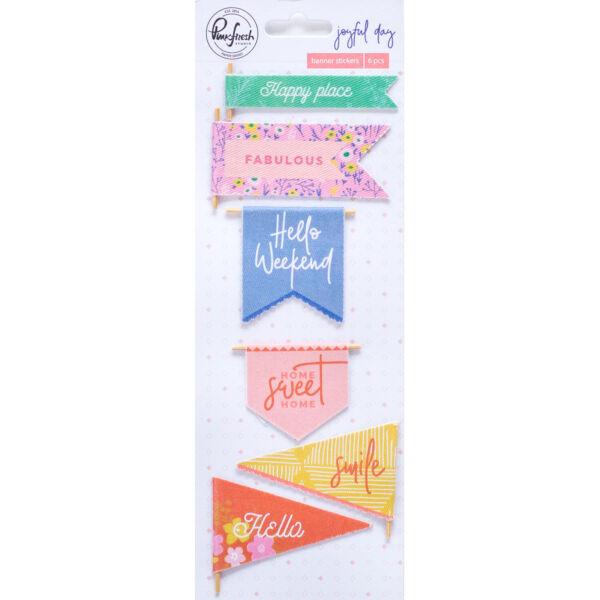 Pinkfresh Studio - Joyful Day Fabric Banner Stickers