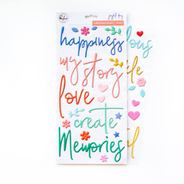 Pinkfresh Studio - Joyful Day Puffy Phrase Stickers