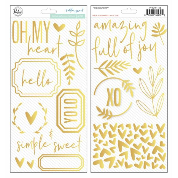 Pinkfresh Studio - Simple & Sweet Golden Puffy Phrases