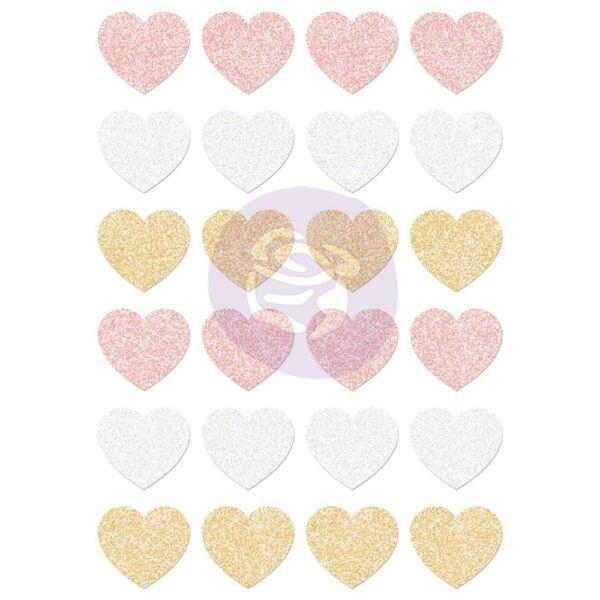 Prima Marketing - Santa Baby Glitter Hearts (24 pieces)