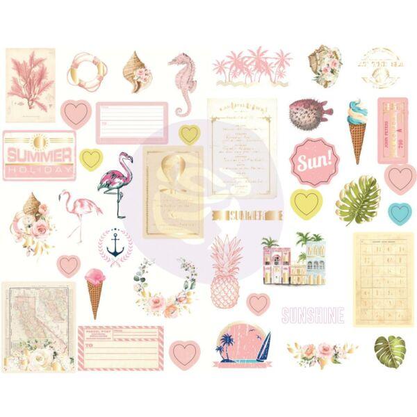 Prima Marketing - Golden Coast Chipboard Stickers (41 Pieces)