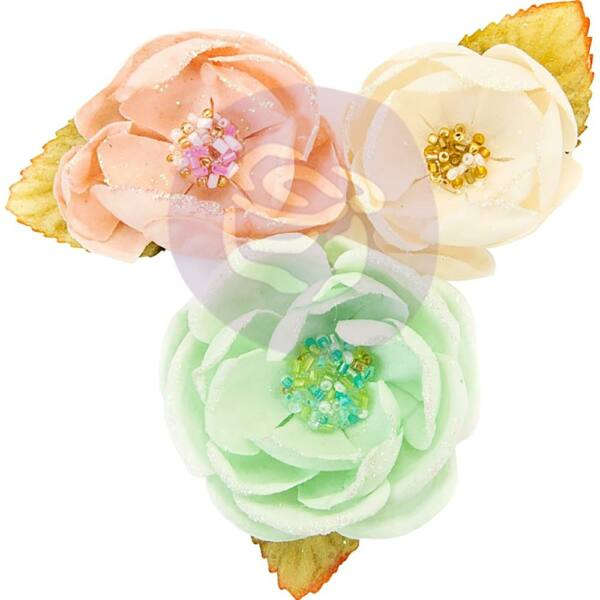 Prima Marketing - Santa Baby Fabric Flowers - Cotton Candy Christmas