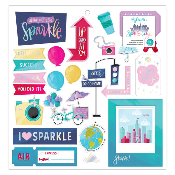 American Crafts - Shimelle - Sparkle City Chipboard Stickers (24 Piece)