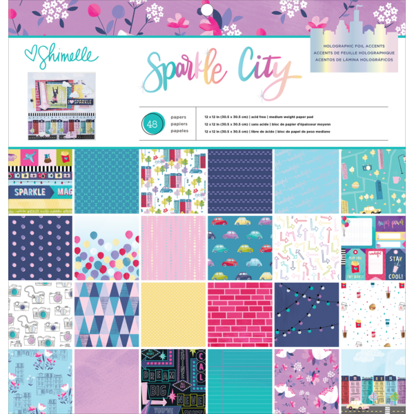 American Crafts - Shimelle - Sparkle City 12x12 Paper Pad (48 Sheets)