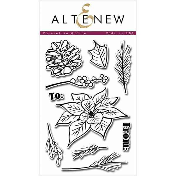 Altenew Poinsettia & Pine Stamp Set