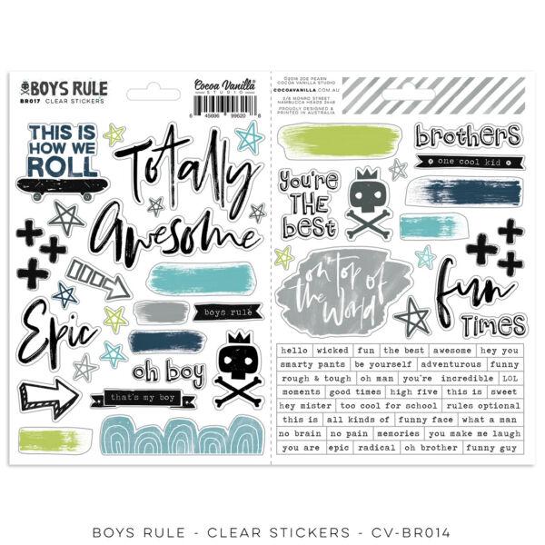 Cocoa Vanilla Studio - Boys Rule Clear Stickers