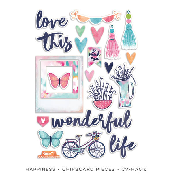Cocoa Vanilla Studio - Happiness Chipboard Accents Pack