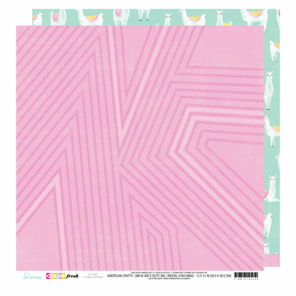 Heidi Swapp - Color Fresh 12x12 Patterned Paper - Llama Drama