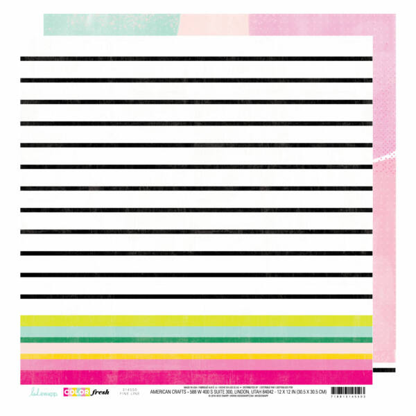 Heidi Swapp - Color Fresh 12x12 Patterned Paper - Fine Line